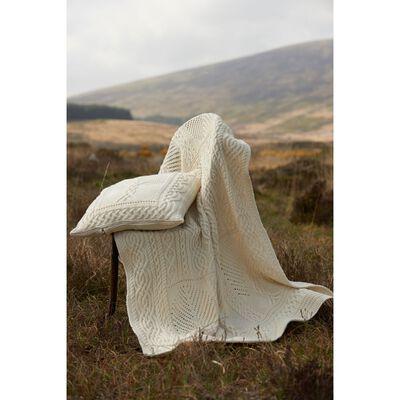 Aran Crafts Fairy Tree 100% Merino Wool Throw  Natural Colour
