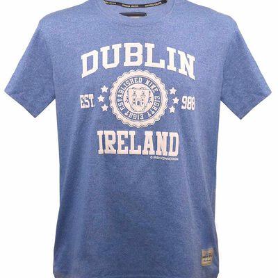 T-Shirt With Dublin Ireland Est 988 Stars Print  Blue Colour