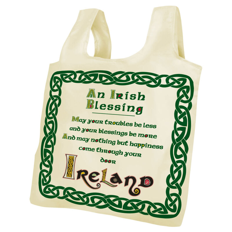Fold Up Bag With The Famous Irish Blessing And Green Celtic Design