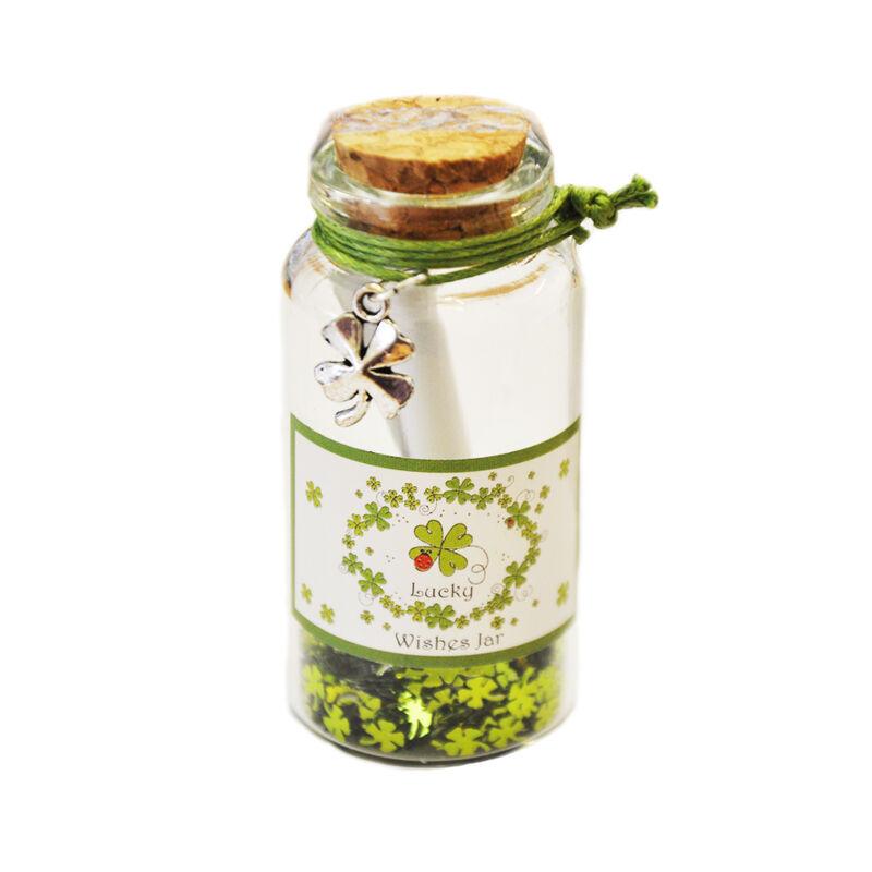 Irish Good Luck Wishing Jar With White And Green Label Shamrock Design