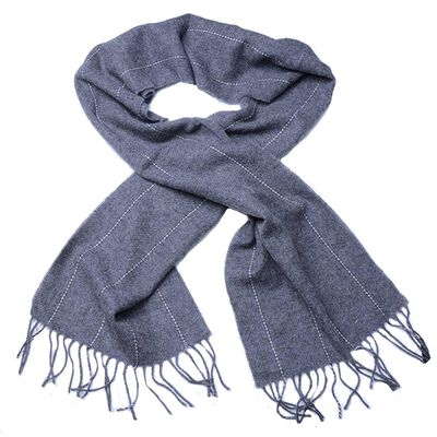 Standard Grey Lambswool Scarf Designed With A White Strip Pattern