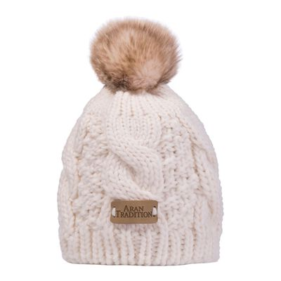 Kids Knit Style Aran Cable Knit Tammy Bobble Hat  Cream Colour