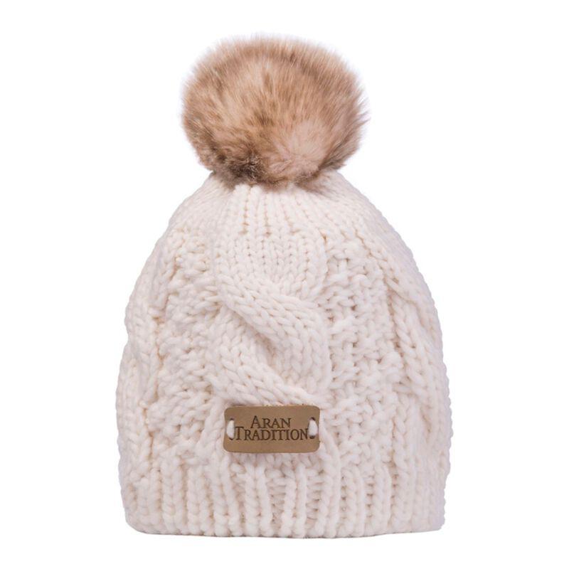 Kids Knit Style Aran Cable Knit Tammy Bobble Hat  Cream Colour