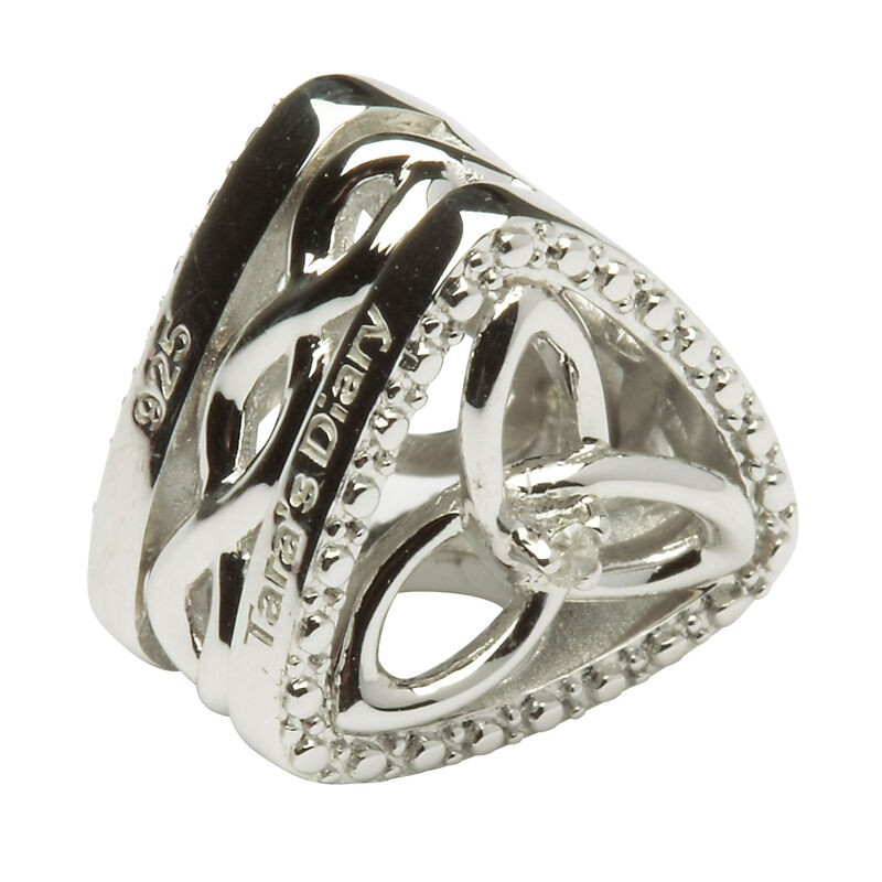 Hallmarked Sterling Silver Celtic Trinity Triangle Diamond Charm