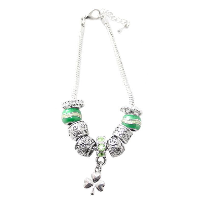 Silver Plated Shamrock Drop Bracelet Charm