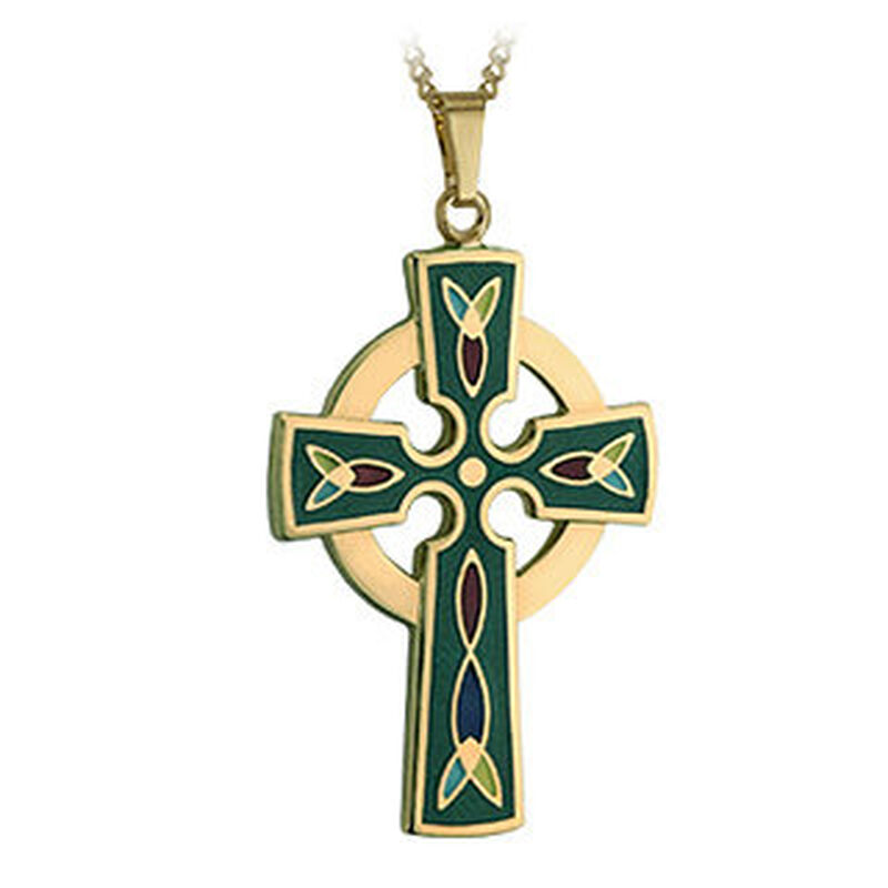 Gold Plated Green Celtic Cross