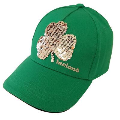 Ireland Baseball Cap With Sequinned Shamrock Design Green Colour