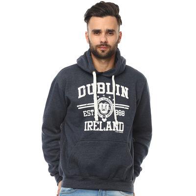 Pullover Hoodie With Dublin Ireland Est 988 and Dublin Crest Print  Navy Colour