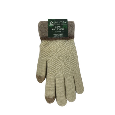 Authentic Aran Knit Ladies Gloves With Touchscreen Compatibility