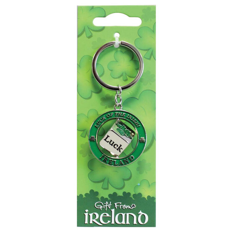 Metal Keychain With Lucky Irish Dice Spinner