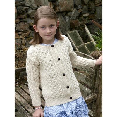 100% Merino Wool Children's Cardigan, Natural Colour