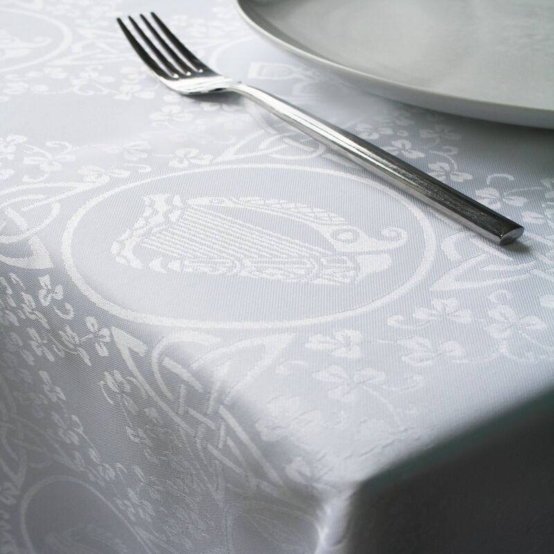 "Celtic Damask Linen Union Tablecloth  70"" X 90"" / 178 X 128 Cm"