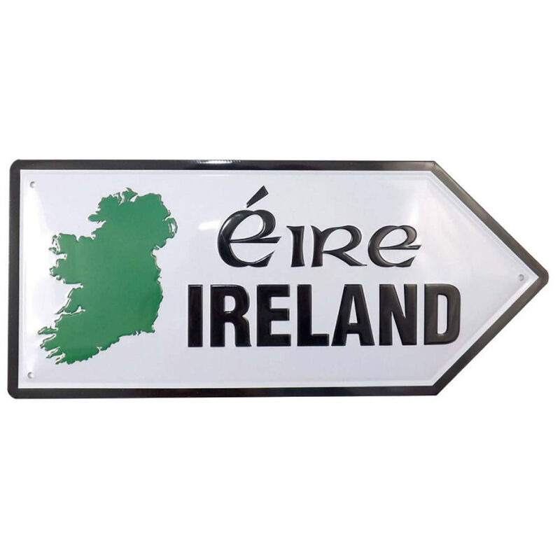 Metal Road Sign With Ireland / Eire And Green Map Of Ireland Design