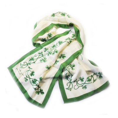Irish Cream Celtic Silk Scarf With Shamrock Print and Green Border