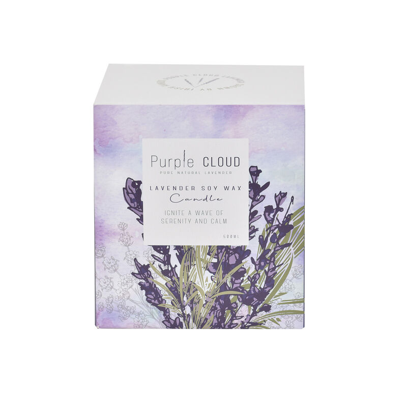 Purple Cloud Pure Natural Lavender Soy Wax Candle, 250ml