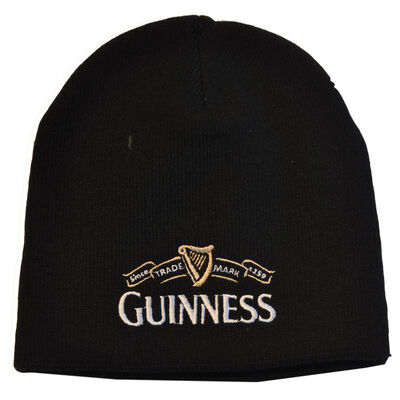 Guinness Beanie Hat With White Guinness Trademark Logo  Black Colour