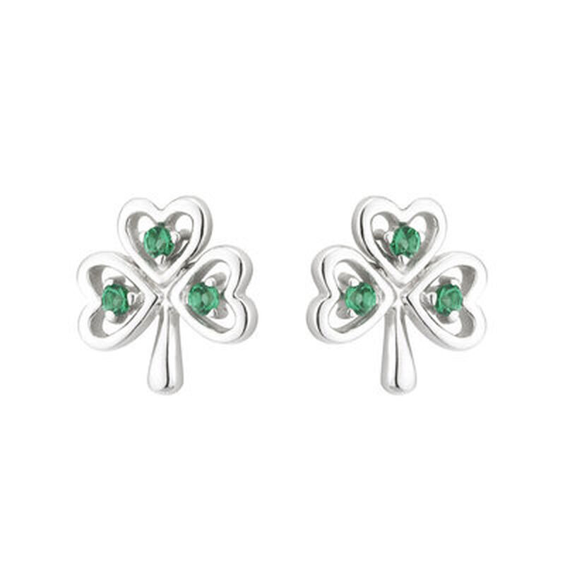 Hallmarked Sterling Silver Shamrock Stud Earring With Cubic Zirconia Stone