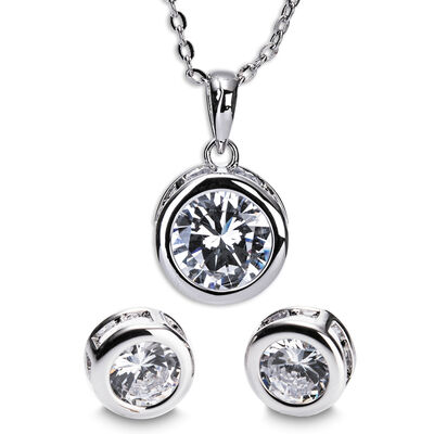 Newgrange Living Silver White Stone Necklace And Earring Set