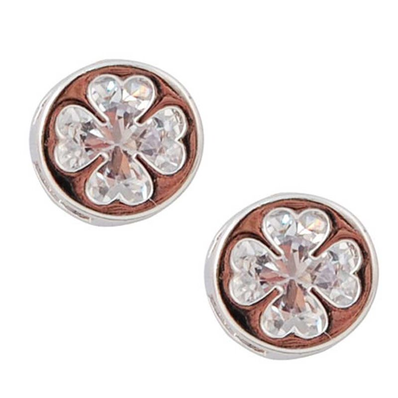 Silver Plated Round Earrings With Clover Shaped Cubic Zirconia Stone