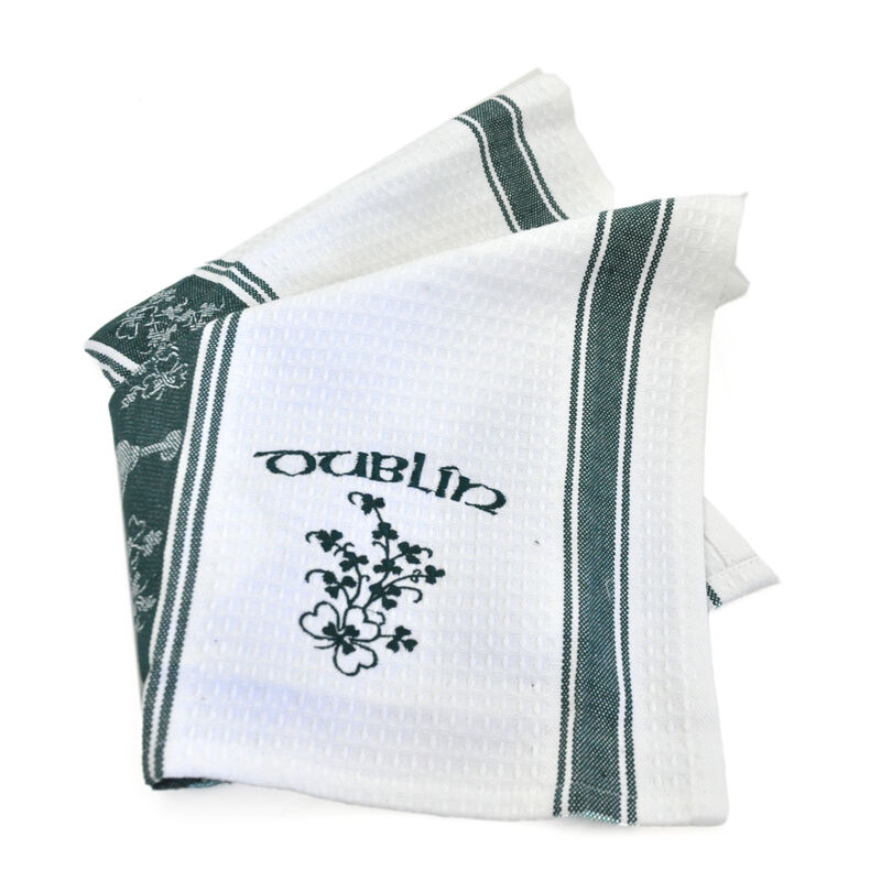 Waffle Embroider Shamrock Tea Towel With Dublin And Shamrock Print