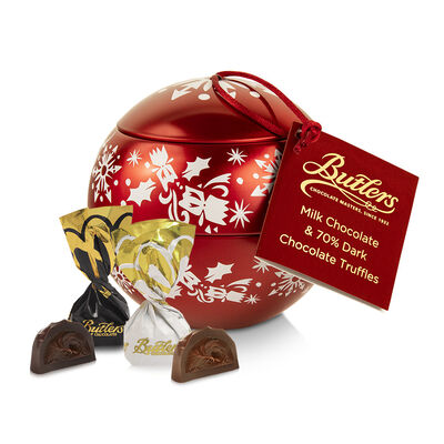 Butlers Red Christmas Bauble Full of Assorted Chocolate Truffles, 150g