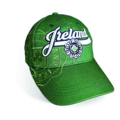 Green Ireland Baseball Cap With Shamrock Crest