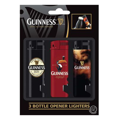 3 Pack Guinness Electronic Lighter And Bot. Opener; Lapel  Red Toucan And Smoke