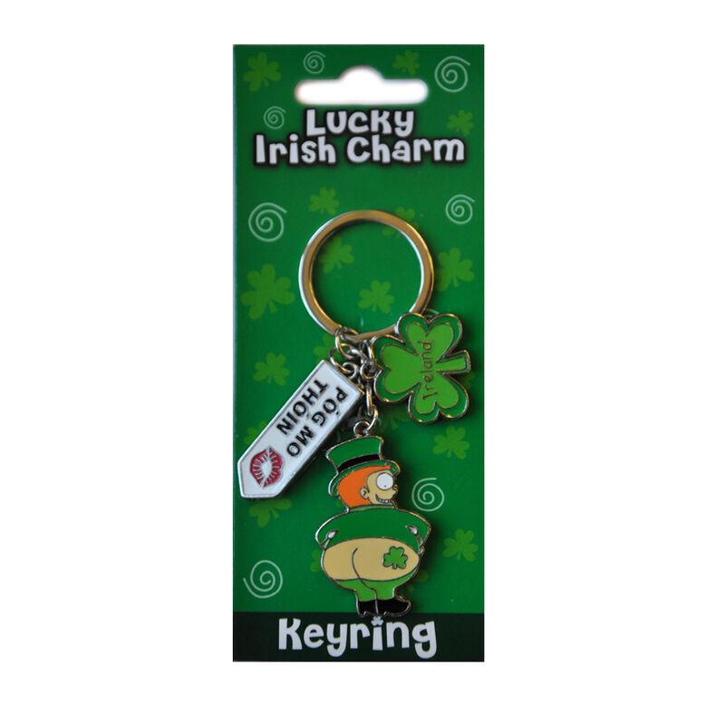 Irish Leprechaun Style Charm Keychain With Pog Mo Thoin Sign