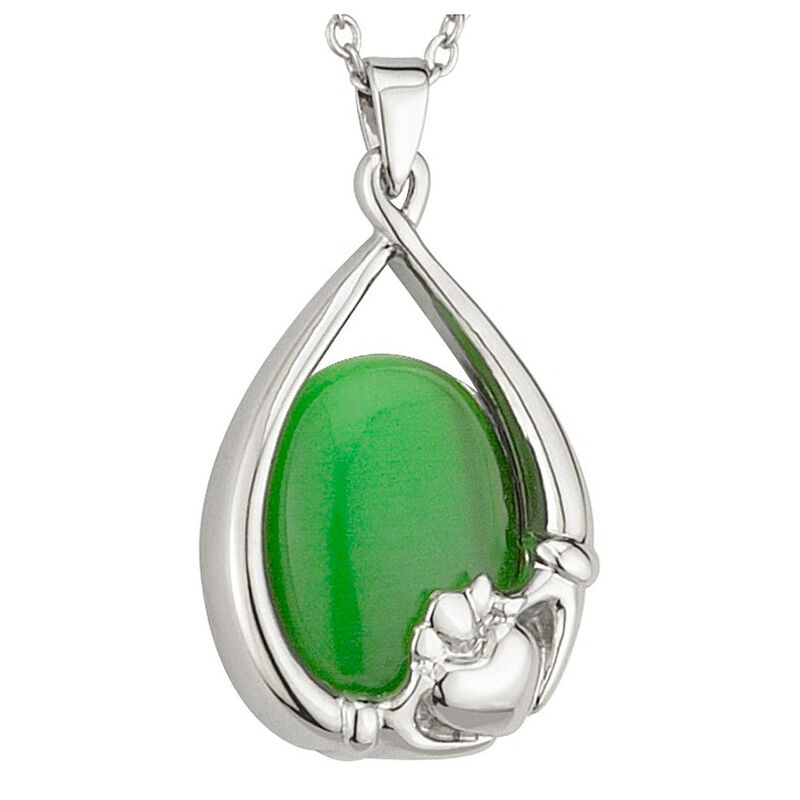 Elegant Green Cat Eye Oval Pendant With Irish Claddagh Design