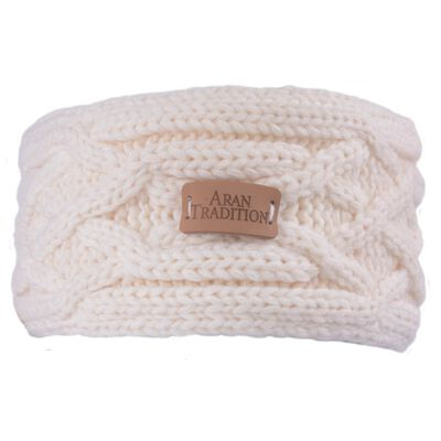 Aran Knitted Traditional patterns Headband  Cream Colour