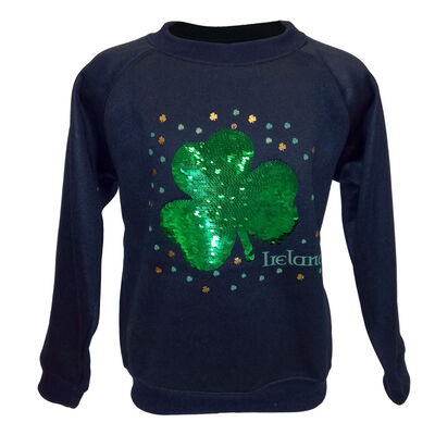 Kids Sweater With Shamrock Ireland Two Way Sequin Design, Navy Colour
