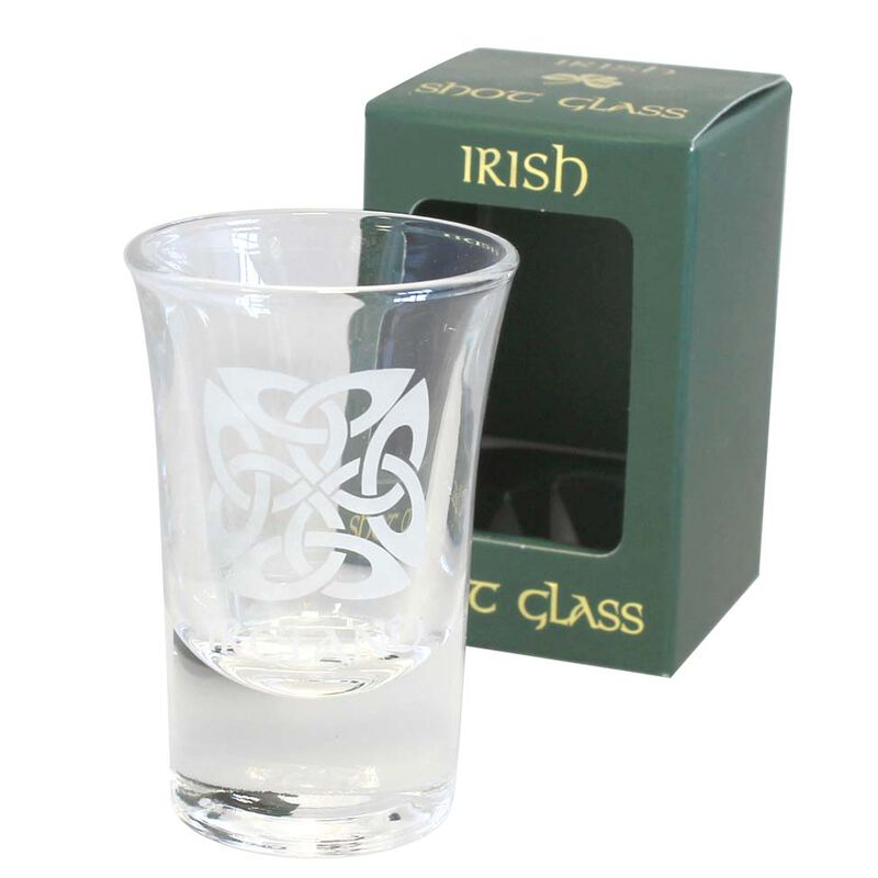 Boxed Irish Shot Glass With Celtic Square Knots Design