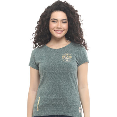 Green Ladies Fit Ireland Original T-Shirt With Snow Melange Design