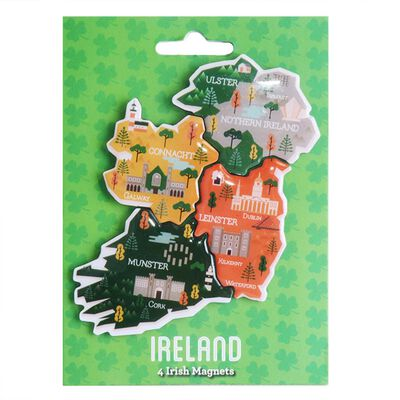 Irish Magnets Which Assemble to Create a Map of Ireland  4 Magnets in Pack