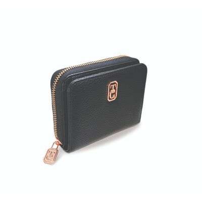 Tipperary Crystal Small Black Ladies Zipped Wallet With Rose Gold Hardware