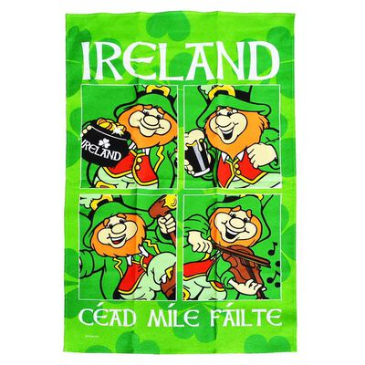 Ireland Cotton T-Towel Designed With Multiple Images Leprechauns