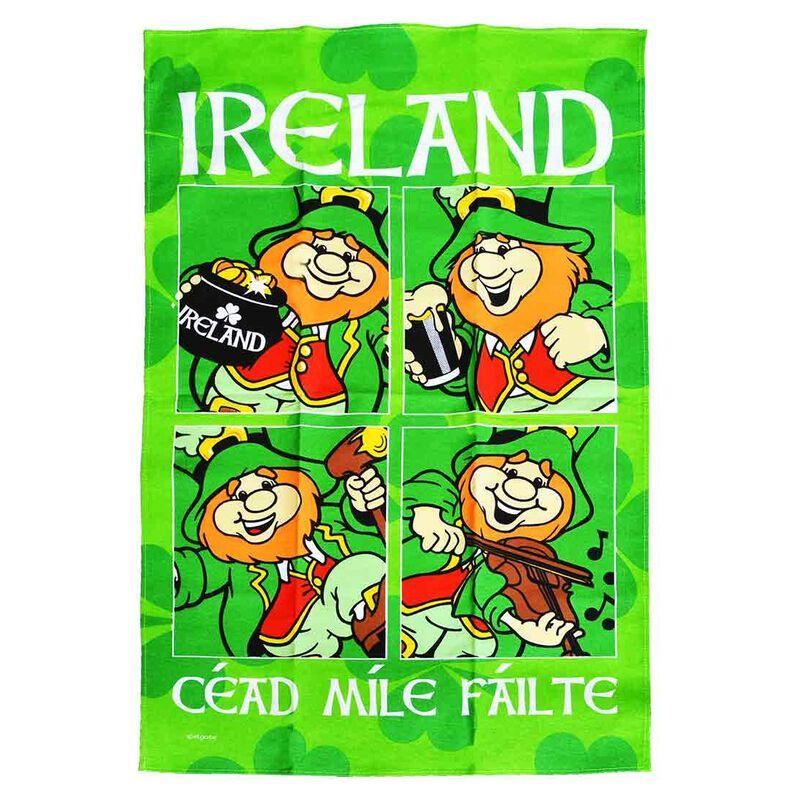 Ireland Cotton T-Towel Designed With Multiple Images Leprechauns