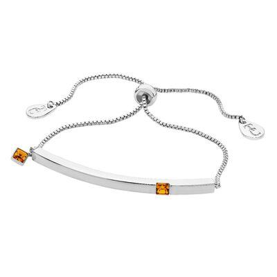Tipperary Crystal Silver Citrine Crystal Birthstone Bar Bracelet