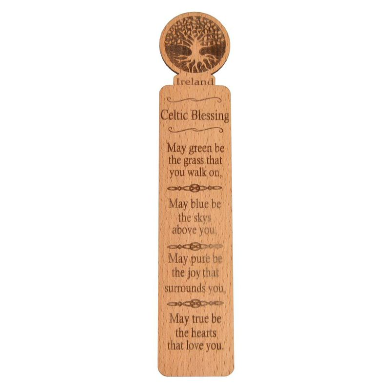 Irish Quality Wooden Bookmark With Tree Of Life Blessing Design
