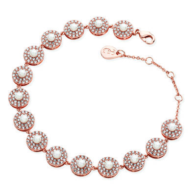 Tipperary Crystal Rose Gold Pave Circle Pearl Centre Bracelet