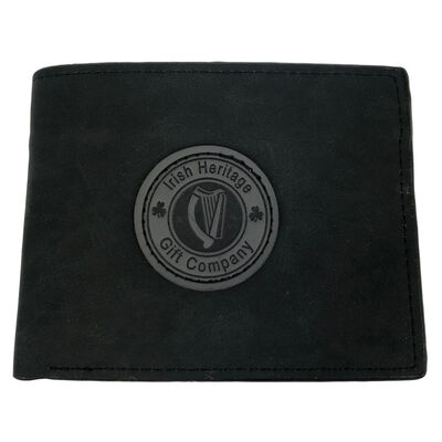 Irish Heritage Gift Company Leather Wallet In Black With Harp Seal Design