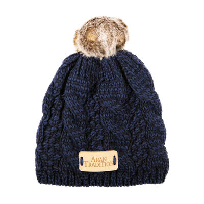 Kids Knit Style Aran Traditions Cable Knit Tammy Bobble Hat, Navy Colour