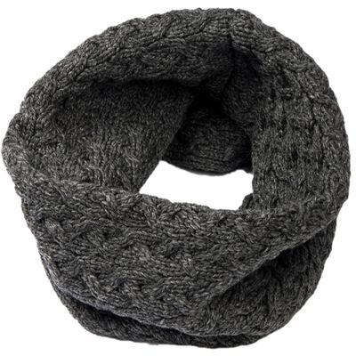 Aran Woollen Mills Super Soft Merino Wool Infinity Cabled Scarf In Dark Grey