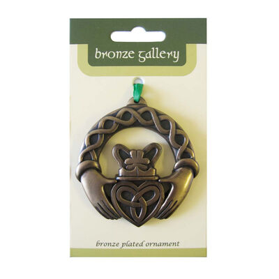 Bronze Plated Hanging Ornament, Claddagh Ring Design