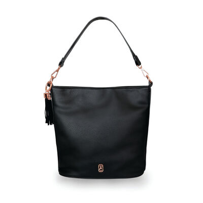 Tipperary Crystal  Black Surrey Pebbled Leather Carry Bag