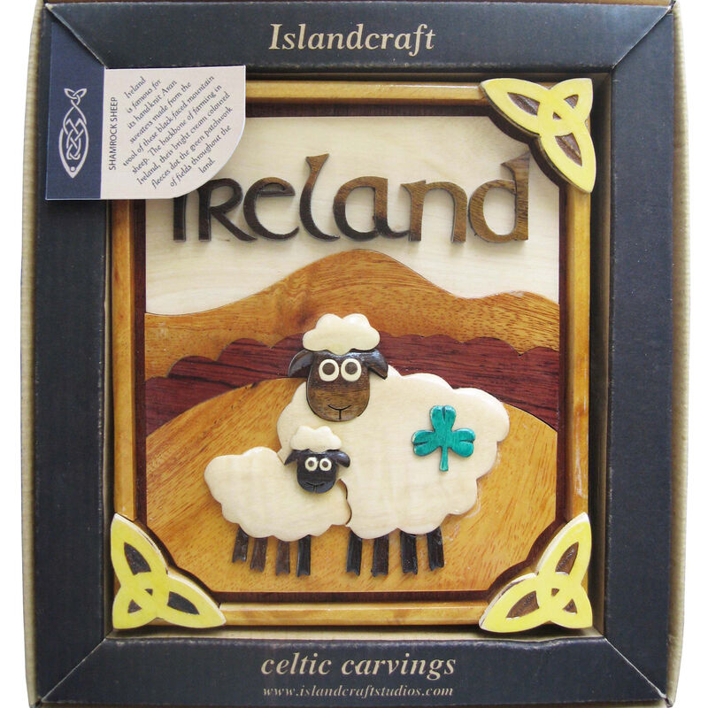 Wooden Irish Shamrock Sheep Plaque
