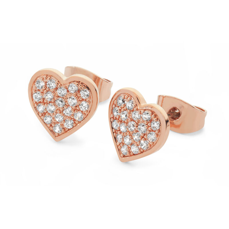 Tipperary Crystal Heart Pavé Rose Gold Plated Earrings