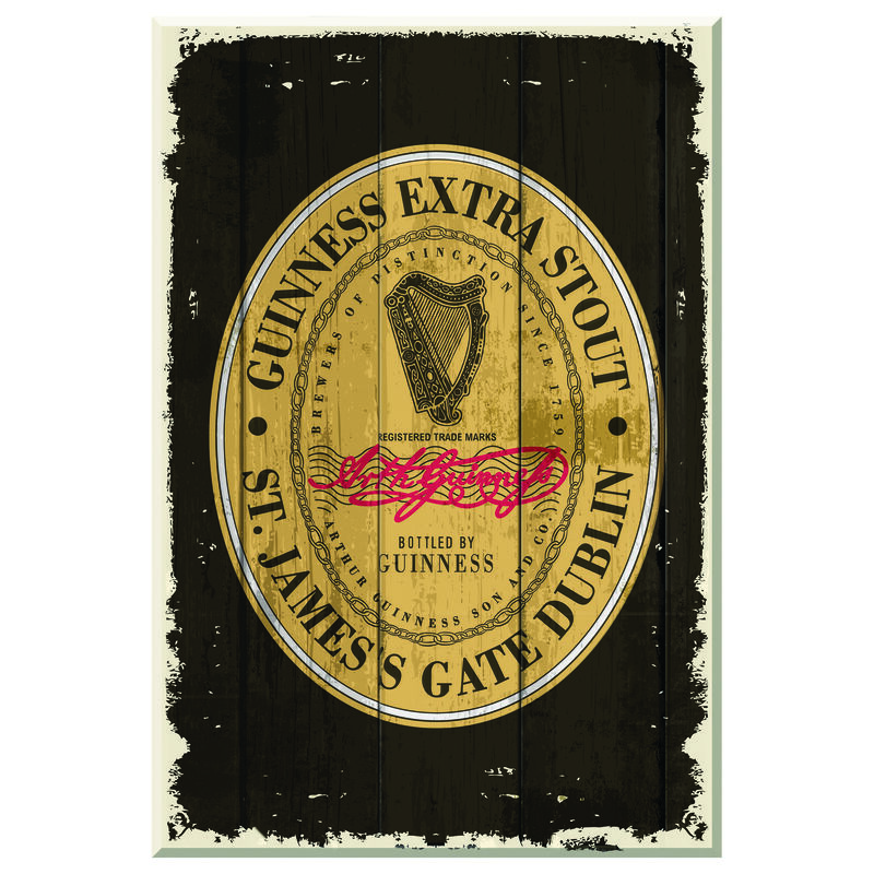 """Nostalgisches Guinness-Holzschild mit """"Heritage Extra Stout""""-Aufdruck"""