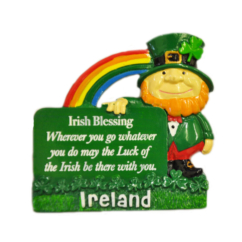 Resin Magnet With Leprechaun and Irish Blessing