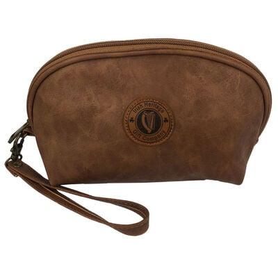 Irish Heritage Gift Company Cosmetic Bag In Brown With Harp Seal Design